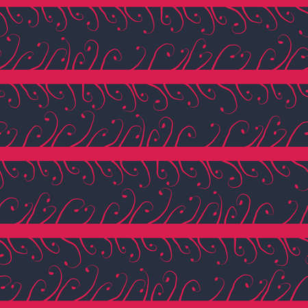 Pink stripes seamless vector horizontal pattern with sprouts. Abstract surface print design for fabrics, stationery, scrapbook paper, gift wrap, textiles, and packaging.