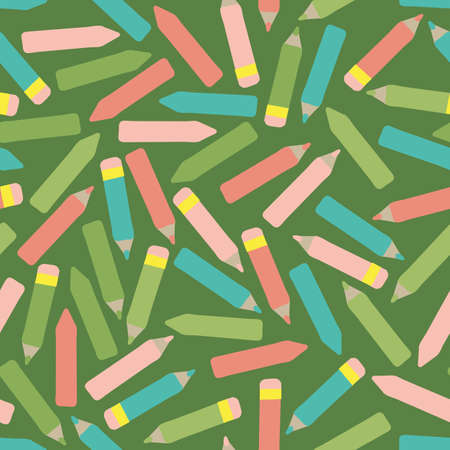 Crayons and color pencils seamless vector pattern. Back to school surface print design for fabrics, stationery, scrapbook paper, gift wrap, textiles, and packaging.
