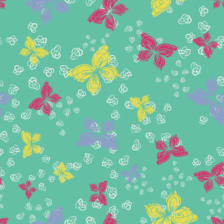 Colorful buttereflies seamless vector pattern. Decorative girly surface print design for fabrics, stationery, scrapbook paper, textiles, gift wrap, and packaging.