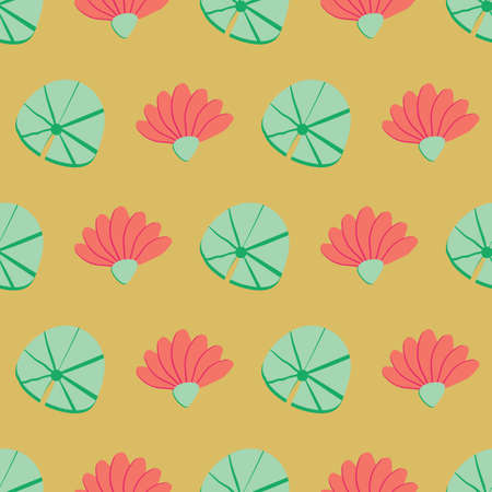 Lotus flowers and leaves seamless vector pattern on yellow. Surface print design for fabrics, stationery, scrapbook paper, gift wrap, home decor, textiles, and packaging. Illustration
