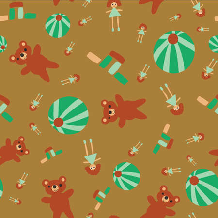 Scattered toys seamless vector pattern. Childish surface print design for fabrics, stationery, scrapbook paper, gift wrap, textiles, and packaging. Illustration