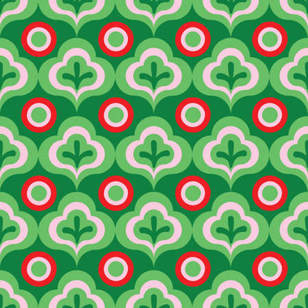 Leaves and berries ornament seamless vector pattern in green and red. Christmas surface print design for fabrics, stationery, scrapbook paper, gift wrap, textiles, and packaging.