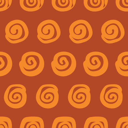 Cinnamon rolls seamless vector polka dots pattern. Pastry themed surface print design for fabrics, stationery, scrapbook paper, gift wrap, textiles, and packaging.