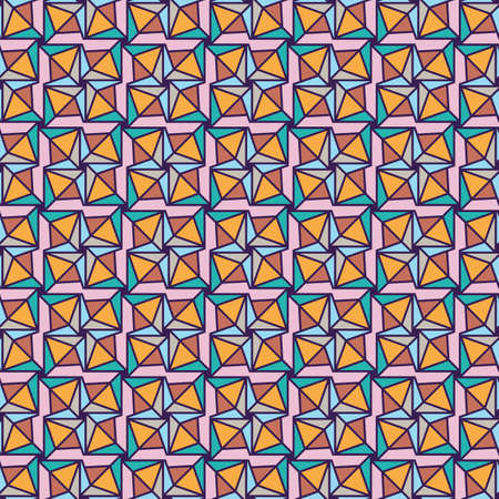 Happy playful origami themed seamless vector pattern. Folded paper shapes geometric surface print design for fabrics, stationery, textiles, wrapping paper, scrapbook, and packaging.
