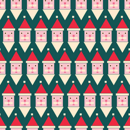 Santa heads made with geometric building blocks seamless vector pattern. Christmas surface print design for fabrics, stationery, textiles, scrapbook paper, gift wrap, and packaging.
