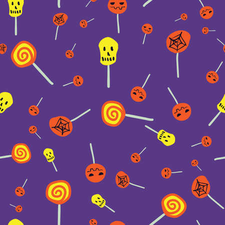 Trick or treat halloween lollipops seamless vector pattern with spooky symbols. Vibrant surface print design for fabrics, stationery, scrapbook paper, gift wrap, textiles, and packaging.