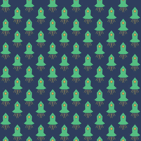Green spaceships seamless vector pattern on navy blue. Simple surface print design for fabrics, stationery, children textiles, scrapbook paper, gift wrap, and packaging. Illustration