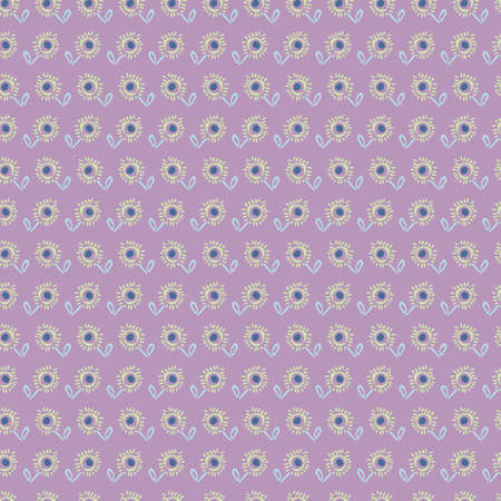 Rows of doodle flowers seamless vector pattern on a violet pattern. Girly surface print design for fabrics, stationery, scrapbook paper, textiles, gift wrap, and packaging.