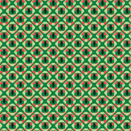 Christmas trees mosaic seamless vector pattern. Seasonal surface print design for fabrics, stationery, scrapbook paper, gift wrap, textiles, and packaging.