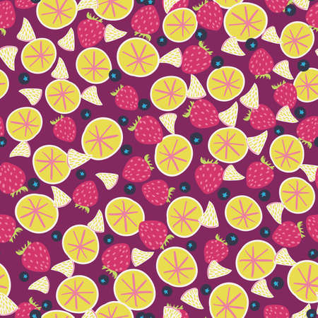 Colorful fruit salad seamless vector pattern in pink and yellow. Vibrant summertime food surface print design for fabrics, stationery, scrapbook paper, textiles, gift wrap, and packaging.