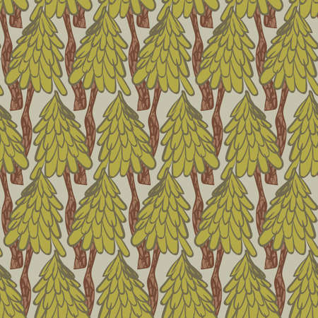 Pine trees woodland seamless vector pattern. Nature themed surface print design for fabrics, stationery, scrapbook paper, gift wrap, textiles, and packaging,