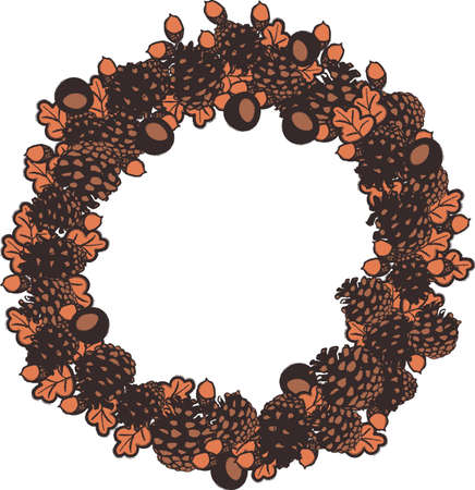 Autumn wreath illustration with pinecones, leaves, conkers, and acorns. Surface print design for labels, cards, gift tags, and placement prints. Illustration