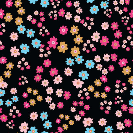 Colorful simple flowers seamless vector pattern on a dark background. Meadow surface print design for fabrics, stationery, scrapbook paper, gift wrap, textiles, and packaging. Illustration