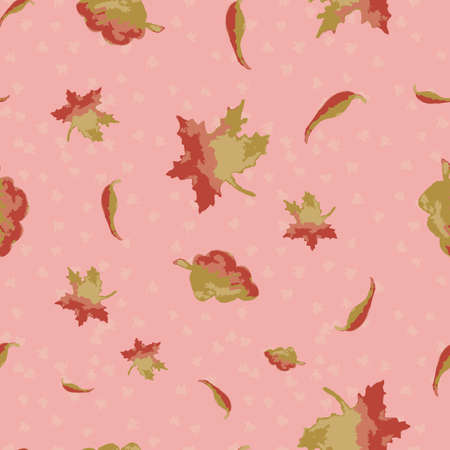 Falling autumn leaves seamless vector pattern. Seasonal surface print design for fabrics, stationery, scrapbook paper, gift wrap, textiles, and packaging. Illustration