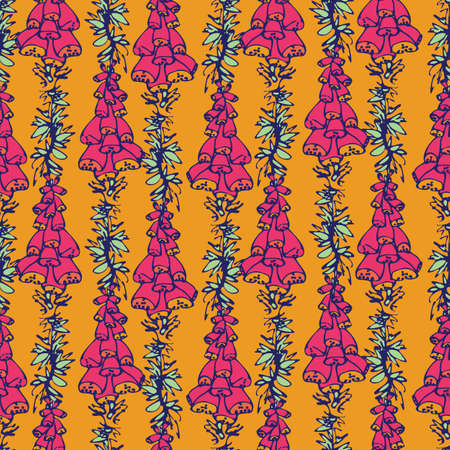 Vibrant foxgloves flowers seamless vector pattern. Bright surface print design for fabrics, stationery, scrapbook paper, gift wrap, textiles, and packaging.