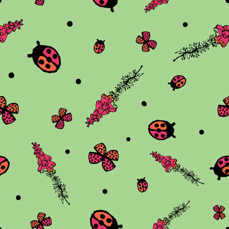 Foxgloves, ladybugs, and butterflies seamless vector pattern. Vibrant surface print design for fabrics, stationery, scrapbook paper, home decor, textiles, and packaging.