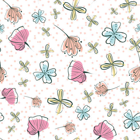 Doodle girly wildflowers seamless vector pattern. Light surface print design for springtime fabrics, feminine stationery, scrapbook paper, gift wrap, textiles, and cosmetics packaging.