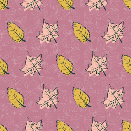 Autumn leaves seamless vector pattern in yellow and pink. Doodle surface print design for fabrics, stationery, scrapbook paper, gift wrap, textiles, and seasonal packaging.