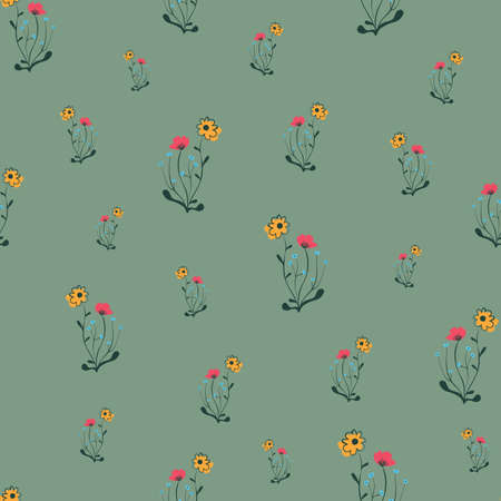 Simple girly meadow wildflowers seamless vector pattern. Green surface print design for fabrics, stationery, scrapbook paper, gift wrap, textiles, home decor, and packaging. Illustration