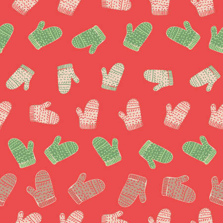 Christmas knitted mittens seamless vector pattern. Winter season surface print design for fabrics, stationery, scrapbook paper, gift wrap, home decor, textiles, and holiday packaging.
