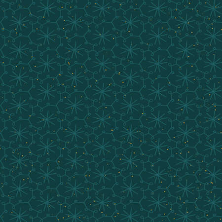 Teal starry sky and doodle grid seamless vector pattern. Surface print design for fabrics, stationery, scrapbook paper, gift wrap, home decor, wallpaper, textiles, and packaging.