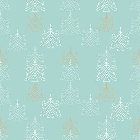 Light colored christmas trees seamless vector pattern. Minimal wintertime surface print design for fabrics, stationery, textiles, scrapbook paper, gift wrap, and packaging.