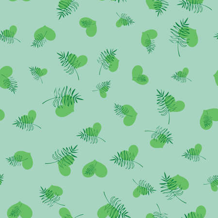 Green hearts and leaves seamless vector pattern. Love for plants themed surface print design for fabrics, stationery, scrapbook paper, gift wrap, home decor, textiles, and organic products packaging.