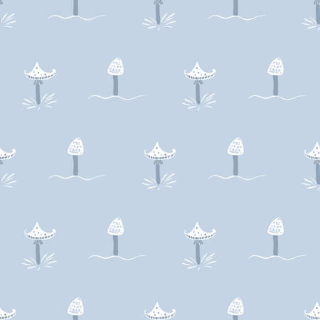 Pastel blue toadstools seamless vector pattern. Surface print design for fabrics, stationery, scrapbook paper, gift wrap, textiles, and packaging.