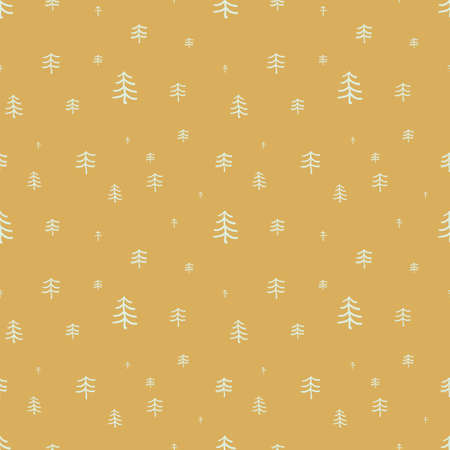 doodle conifer forest seamless vector pattern on ochre yellow. Surface print design for fabrics, stationery, scrapbook paper, gift wrap, textiles, and packaging. Illustration
