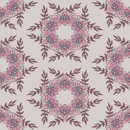 Pink flower wreaths seamless vector pattern. Surface print design for fabrics, stationery, scrapbook paper, gift wrap, home decor, wallpaper, and packaging.