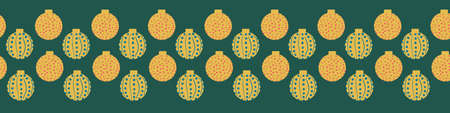 Christmas baubles seamless horizontal border print