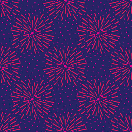 Pink fireworks on blue sky seamless vector pattern.