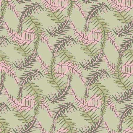 Tropical leaves seamless vectora pattern in green and pink. Surface print design for fabrics, stationery, textiles, scrapbook paper, gift wrap, home decor, and packaging.