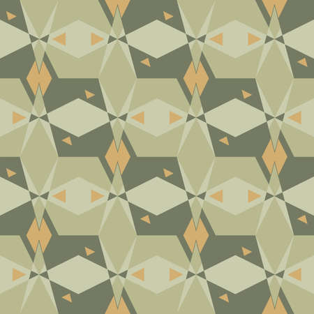 Green and yellow geometric seamless vector pattern. Mosaic surface print design for fabrics, stationery, scrapbook paper, textiles, gift wrap, home decor, wallpaper, and packaging Illustration