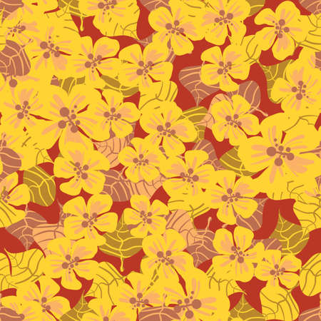 Yellow tropical flowres seamless vector pattern. Surface print design for summertime fabrics, stationery, feminine scrapbook paper, textiles, home decor, and packaging.