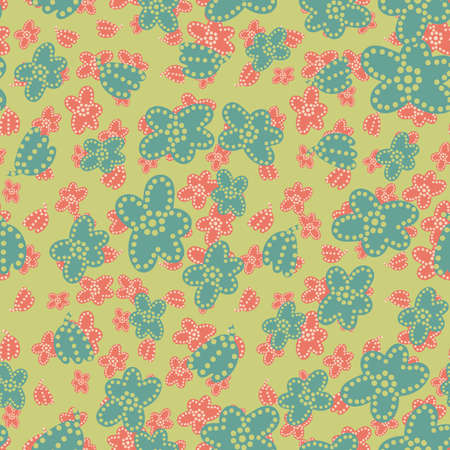 Flower meadow seamless vector pattern. Girly surface print design for fabrics, stationery, scrapbook paper, gift wrap, home decor, textiles, and packaging. Illustration