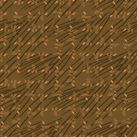 Small scale leaves seamless vector pattern in brown colors. Surface print design for fabrics, stationery, scrapbook paper, textiles, and packaging. Illustration