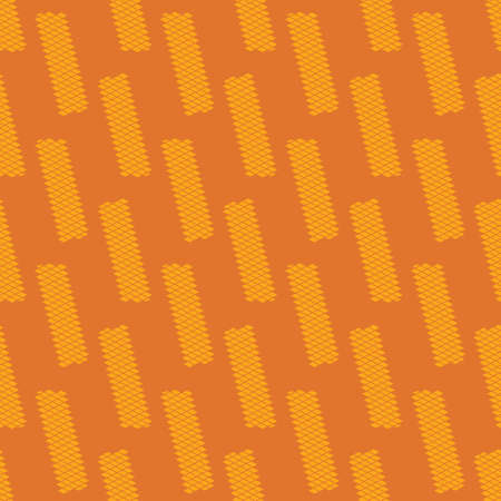 Yellow wafers seamless vector pattern on orange background. Snack themed surface print design for fabrics, stationery, scrapbook paper, gift wrap, textiles, and packaging.