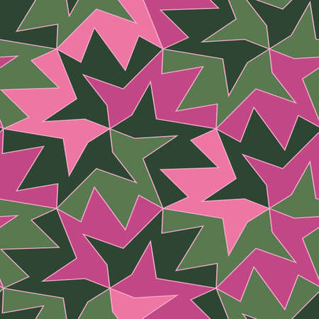 Pink and green tessellation seamless vector pattern. Bright abstract surface print design for fabrics, stationery, scrapbook paper, gift wrap, home decor, wallpaper, textiles, and packaging.