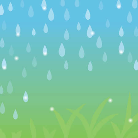 Spring rainy weather vector background. Simple backdrop with beautiful blue and green gradient. Standard-Bild - 161770388