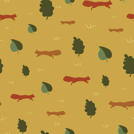 Red squirrels and tree leaves seamless vector pattern. Woodland themed surface print design for fabrics, stationery, scrapbook paper, gift wrap, textiles, backgrounds, and packaging.