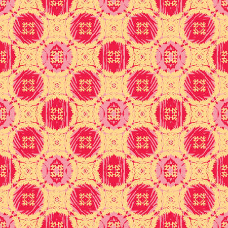 Pink and red rosettes seamless vector pattern on yellow. Surface print design for fabrics, stationery, scrapbook paper, gift wrap, home decor, wallpaper, backgrounds, textiles, and packaging.