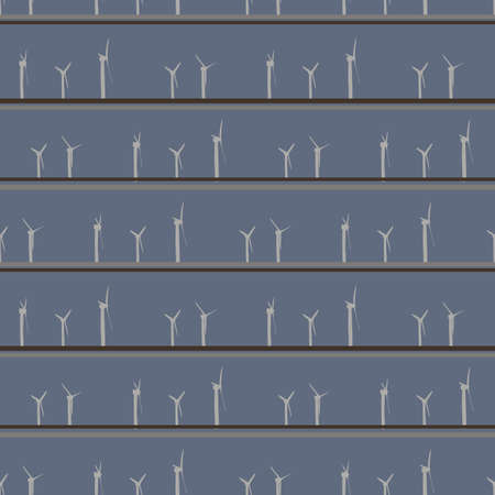 Wind farm seamless vector pattern. Striped surface print design in muted colors. Can be tiled on fabrics, stationery, scrapbook paper, gift wrap, textiles, backgrounds, and packaging.