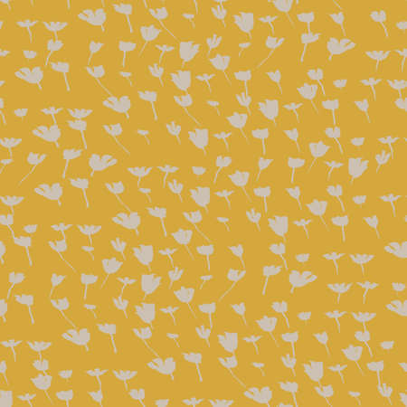 tulips field seamless vector pattern in yellow colorway. Spring themed surface print design for fabrics, stationery, scrapbook paper, gift wrap, home decor, backgrounds, textiles, and packaging.