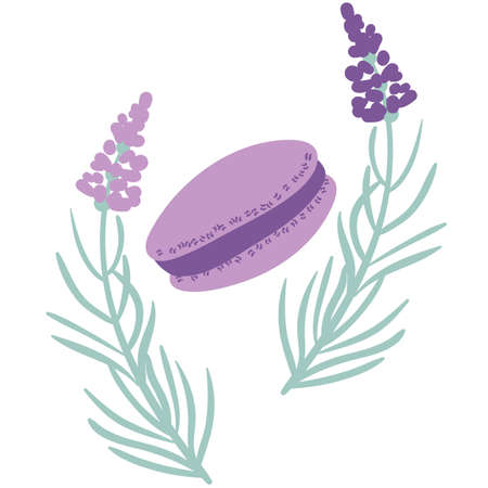 Simple lavender flowers and purple macaron vector illustration. Placement print for embellishing cafe menus, home decor, stationery, and packaging.