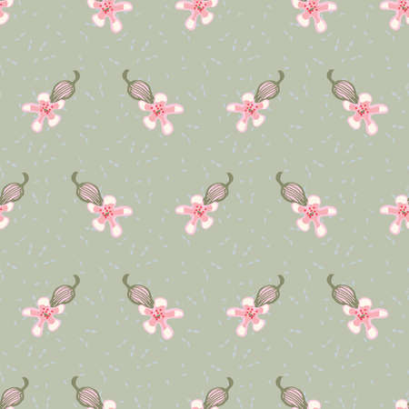 Saponaria flowers seamless vector pattern. Surface print design for fabrics, stationery, scrapbook paper, gift wrap, textiles, backgrounds, home decor, and natural products packaging.