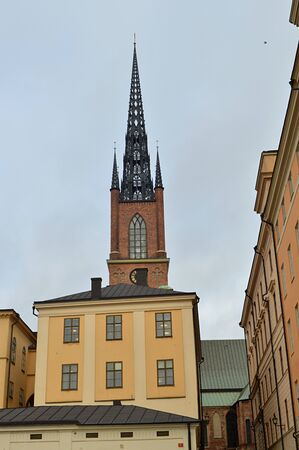 Gothic church tower in the center of Stockholm Stockfoto