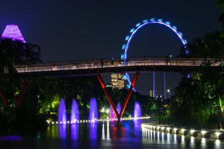Singapore - 13 October 2018. Night view of Gardens By The Bay and Singapore Flyer