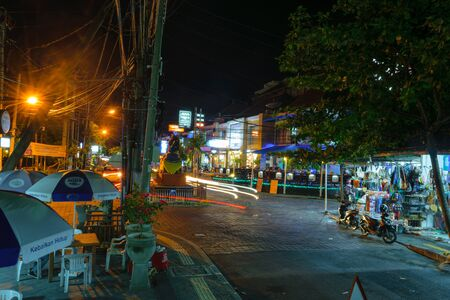Bali, Indonesia 4 OCT 2018. Nightlife street in Bali 報道画像