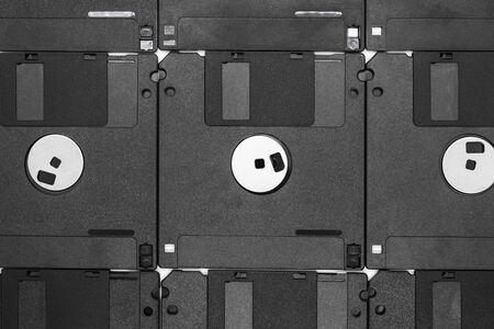 Hintergrund von Haufen schwarzer Disketten